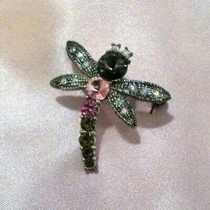 Multi Color Rhinestone Dragonfly Brooch